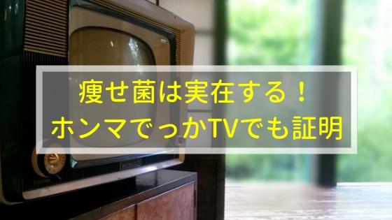 痩せ菌はホンマでっかTVでも実在することが証明されてる